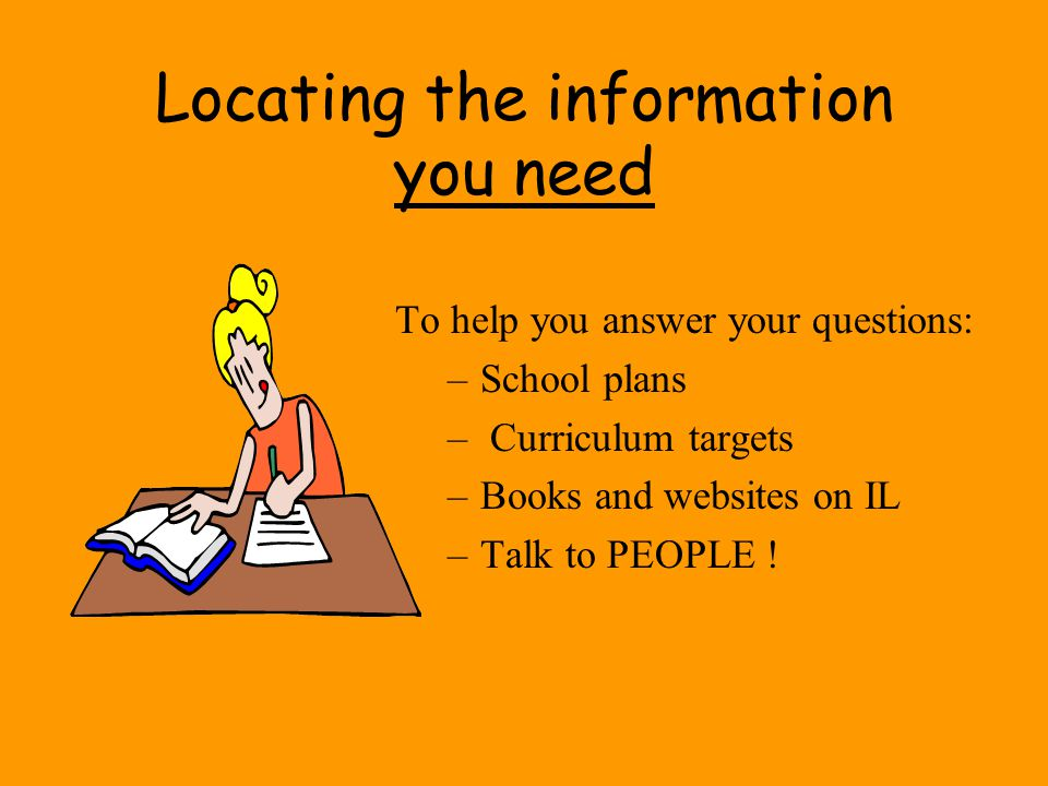 Locating the information you need