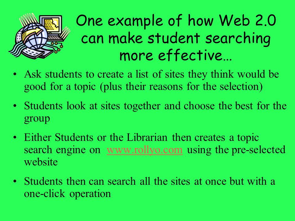 One example of how Web 2.0 can make student searching more effective…