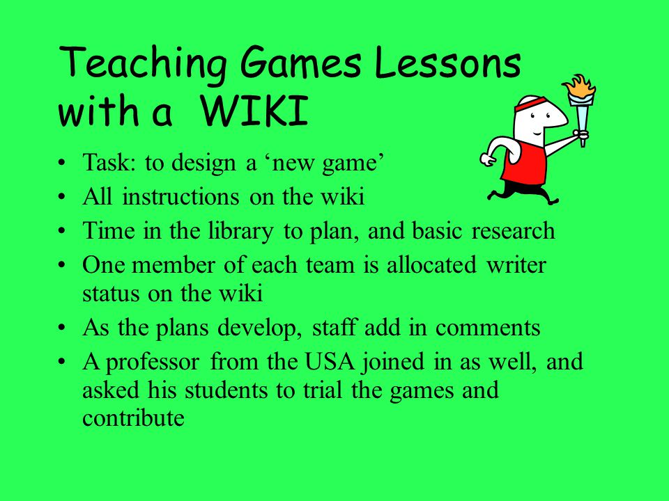 Teaching Games Lessons with a WIKI