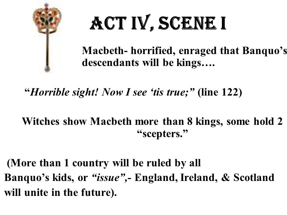 Witches show Macbeth more than 8 kings, some hold 2 scepters.