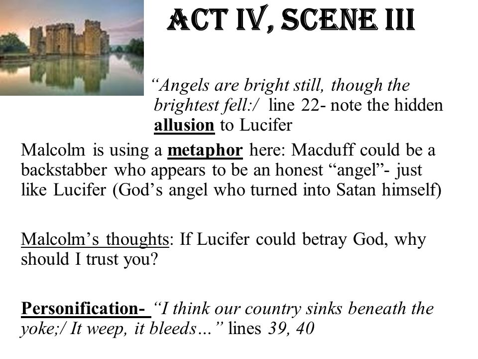 Act Iv, Scene iiI Angels are bright still, though the brightest fell:/ line 22- note the hidden allusion to Lucifer.