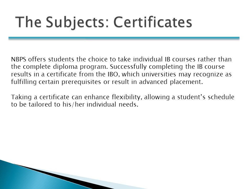 The Subjects: Certificates