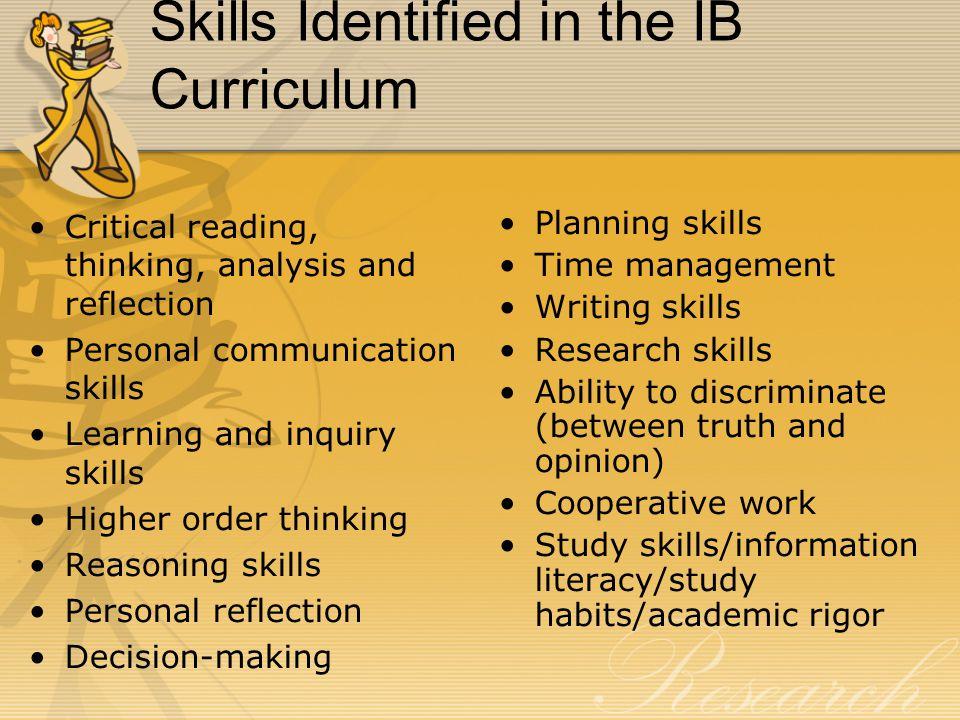 Skills Identified in the IB Curriculum