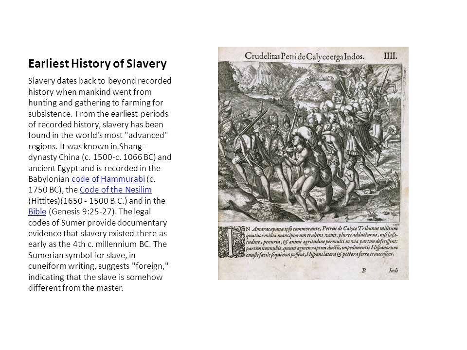 Earliest History of Slavery