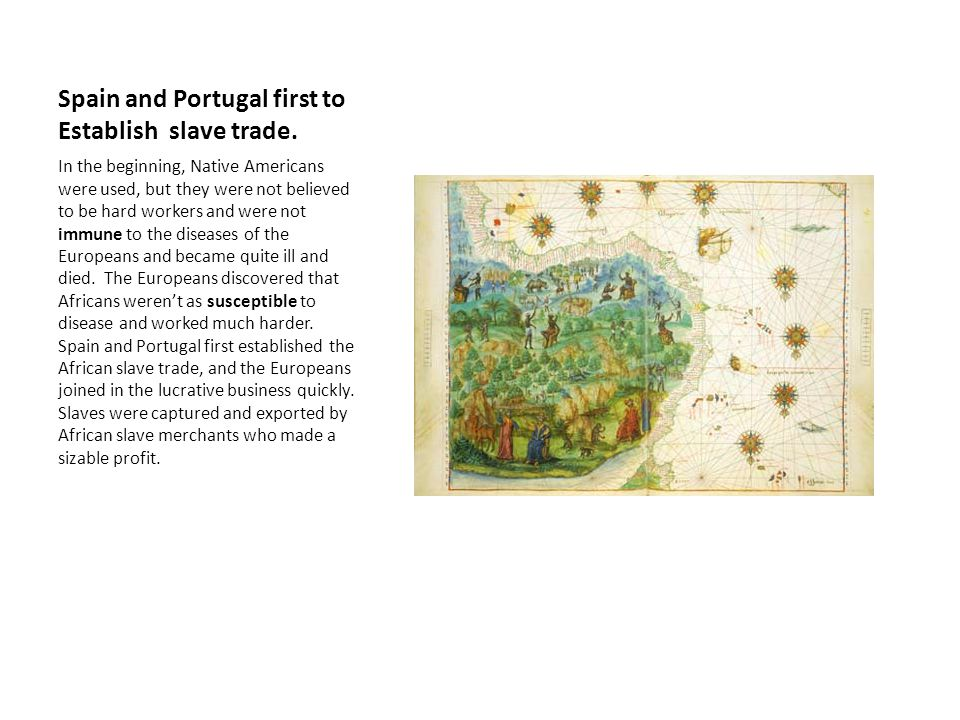 Spain and Portugal first to Establish slave trade.