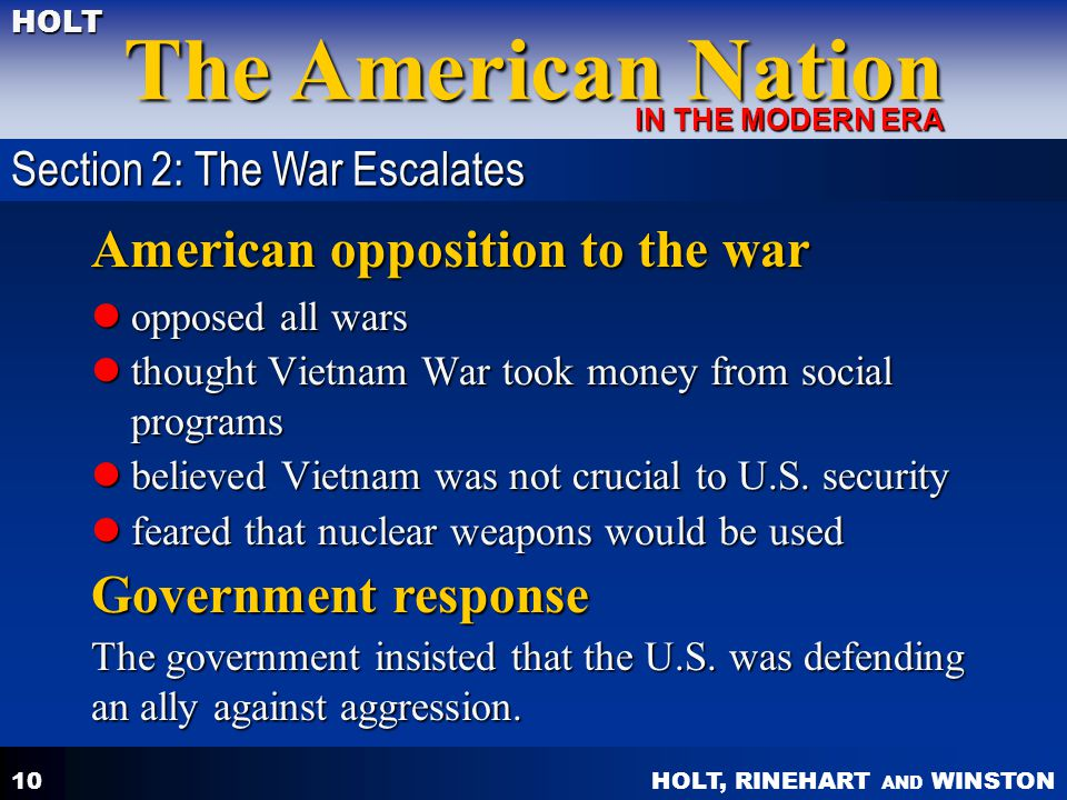 American opposition to the war