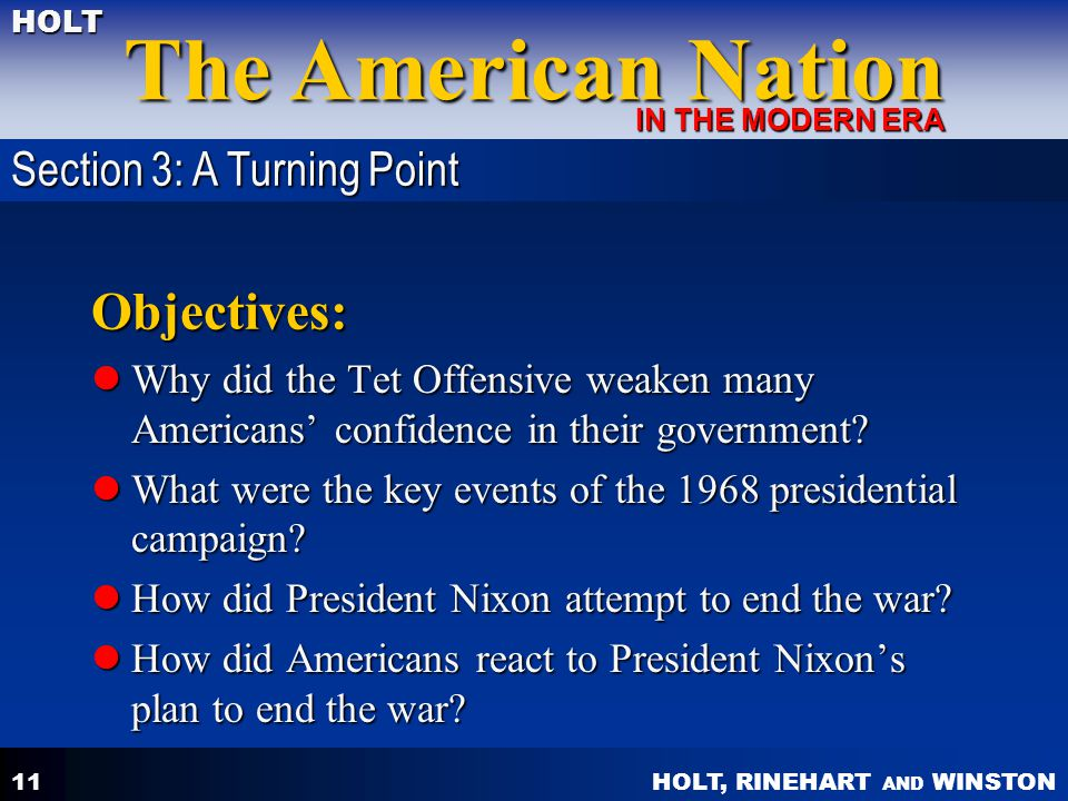 Objectives: Section 3: A Turning Point