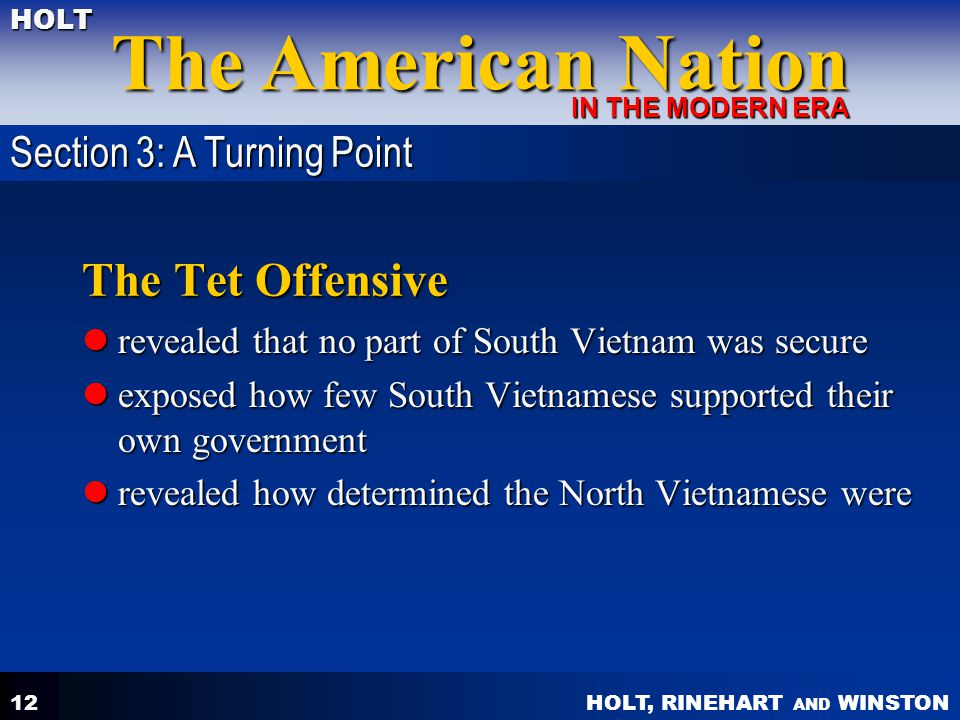 The Tet Offensive Section 3: A Turning Point