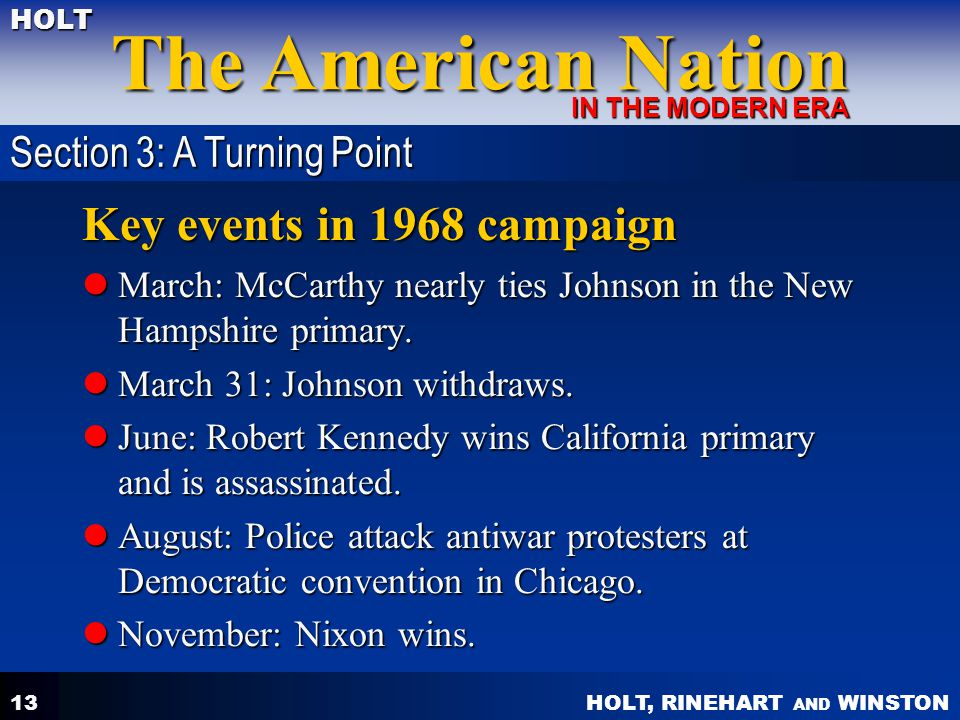 Key events in 1968 campaign Section 3: A Turning Point