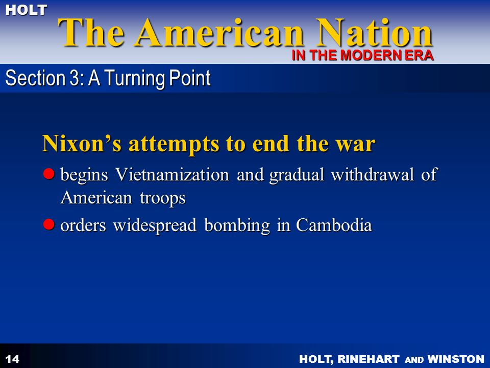 Nixon's attempts to end the war