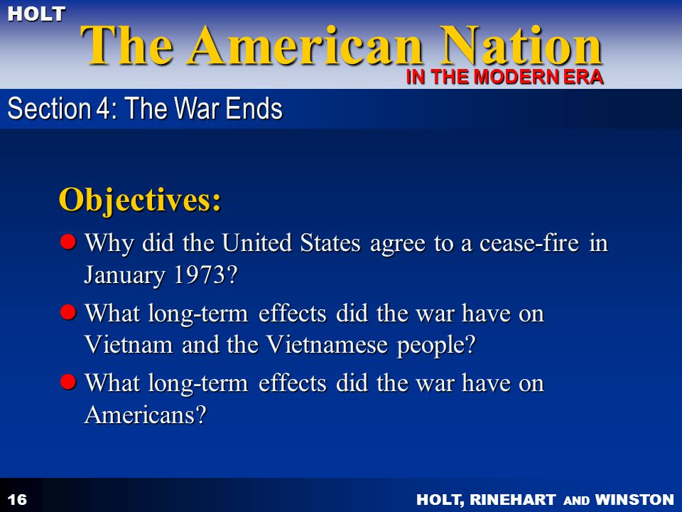Objectives: Section 4: The War Ends