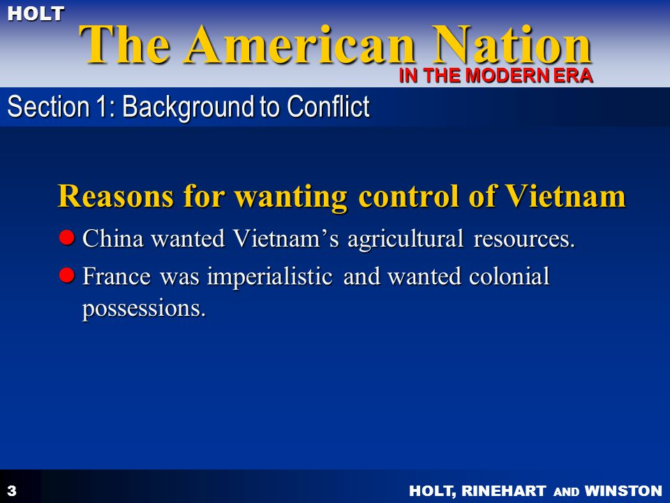 Reasons for wanting control of Vietnam