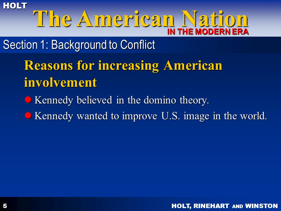 Reasons for increasing American involvement