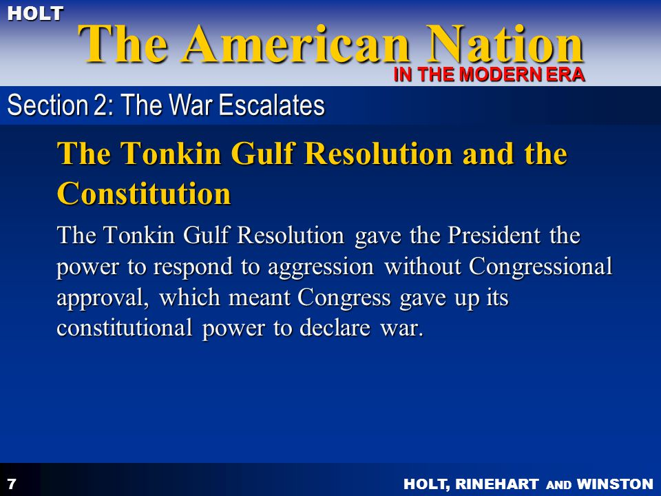 The Tonkin Gulf Resolution and the Constitution