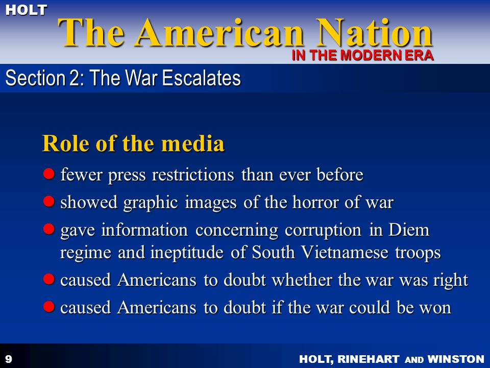 Role of the media Section 2: The War Escalates