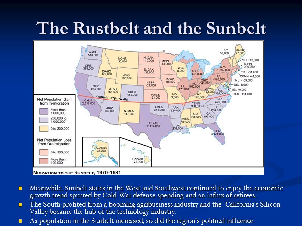 The Rustbelt and the Sunbelt