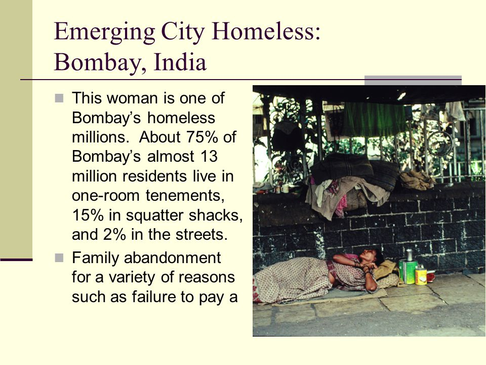 Emerging City Homeless: Bombay, India