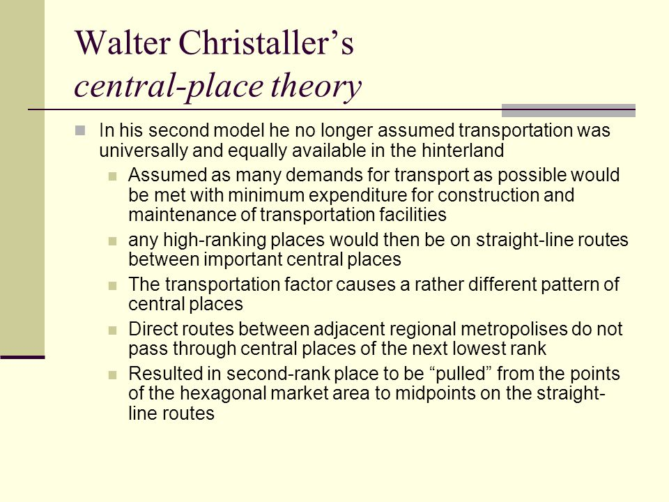 Walter Christaller's central-place theory