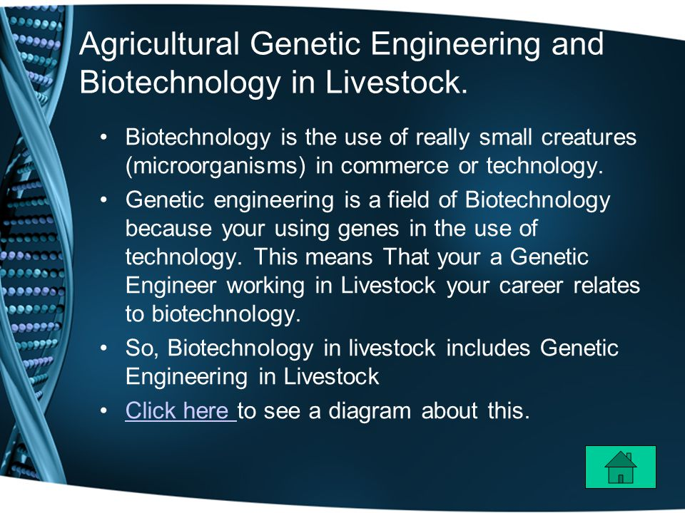 Agricultural Genetic Engineering and Biotechnology in Livestock.