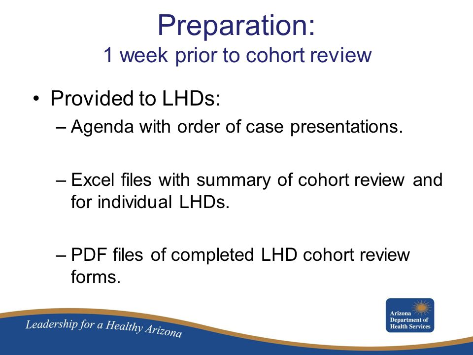 Preparation: 1 week prior to cohort review