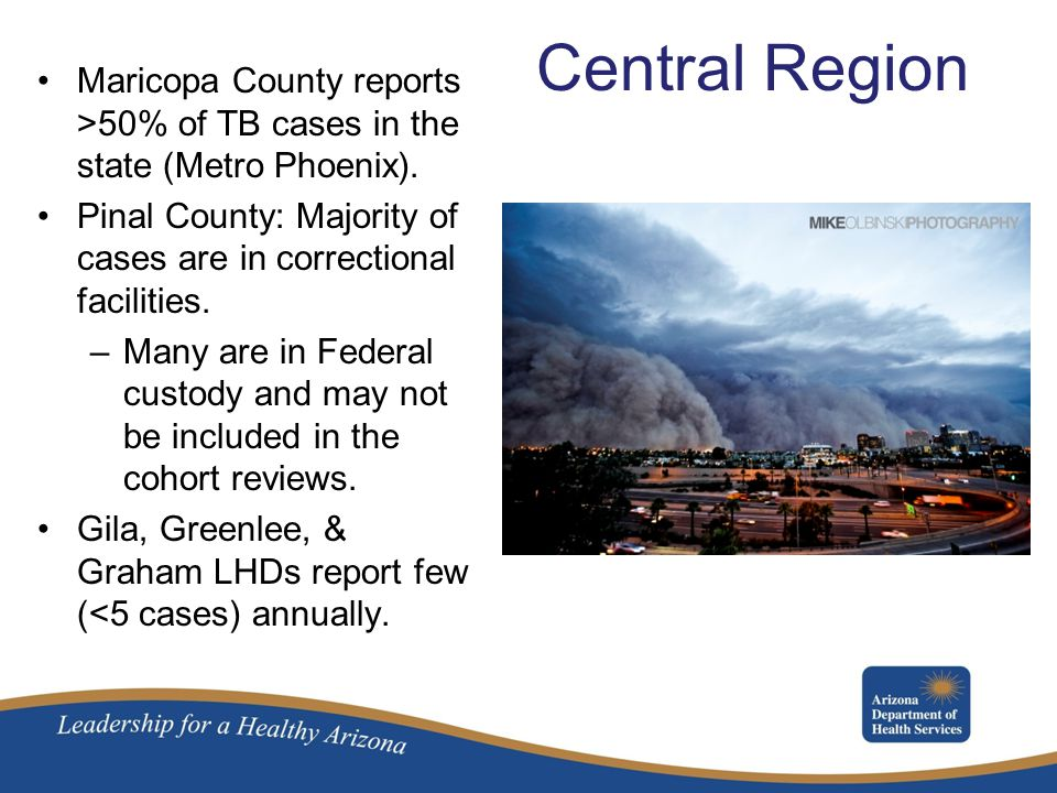 Central Region Maricopa County reports >50% of TB cases in the state (Metro Phoenix).