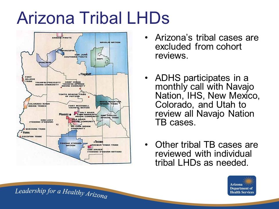 Arizona Tribal LHDs Arizona's tribal cases are excluded from cohort reviews.