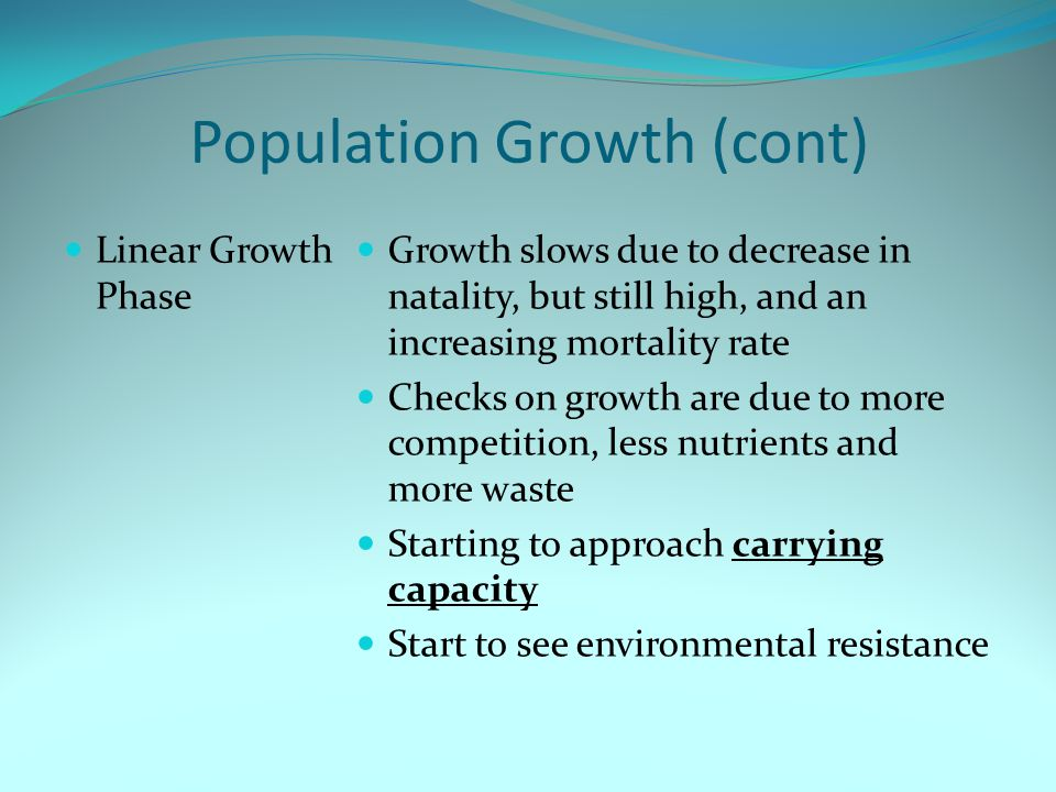 Population Growth (cont)