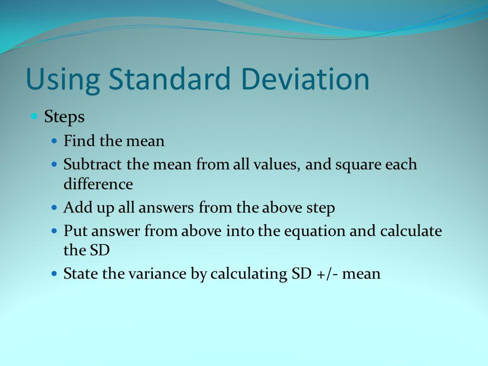 Using Standard Deviation