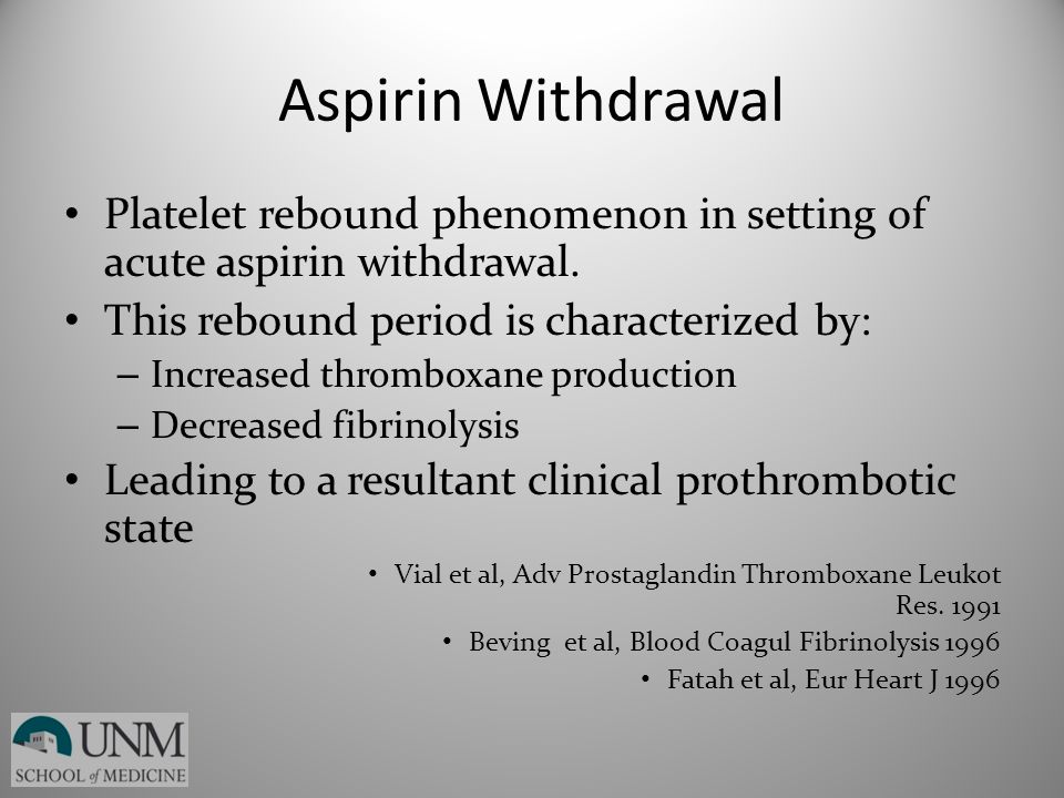 Aspirin Withdrawal Platelet rebound phenomenon in setting of acute aspirin withdrawal. This rebound period is characterized by: