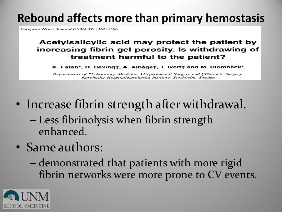 Rebound affects more than primary hemostasis