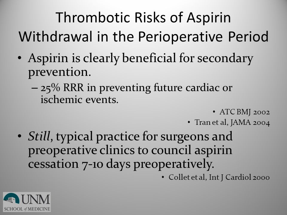 Thrombotic Risks of Aspirin Withdrawal in the Perioperative Period