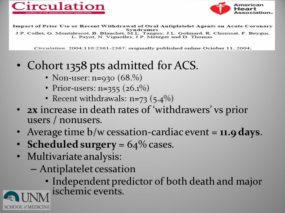 Cohort 1358 pts admitted for ACS.