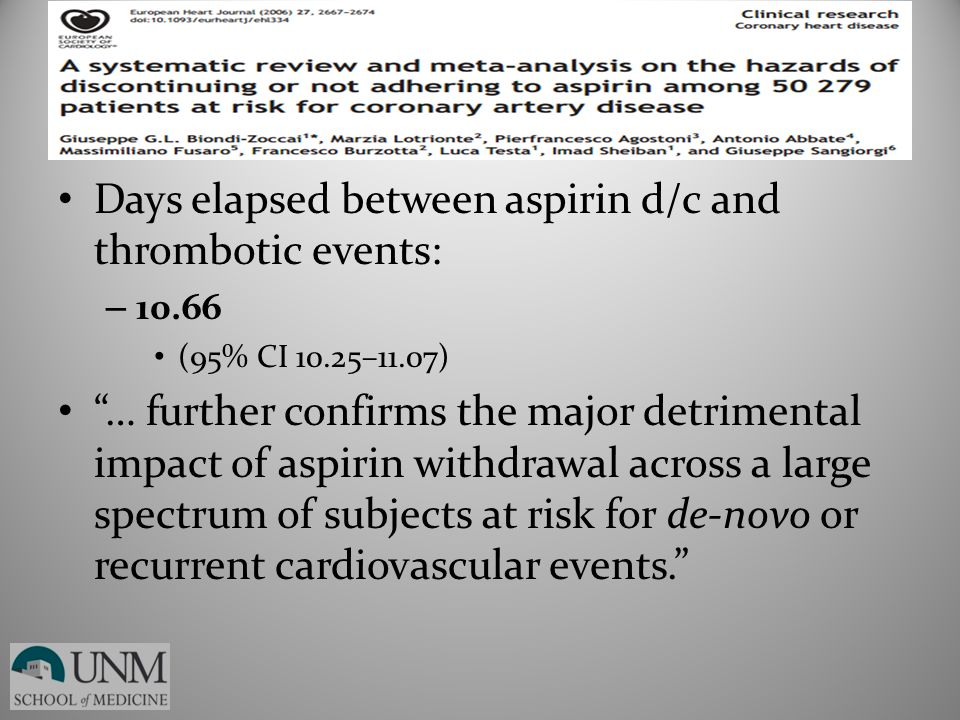 Days elapsed between aspirin d/c and thrombotic events: