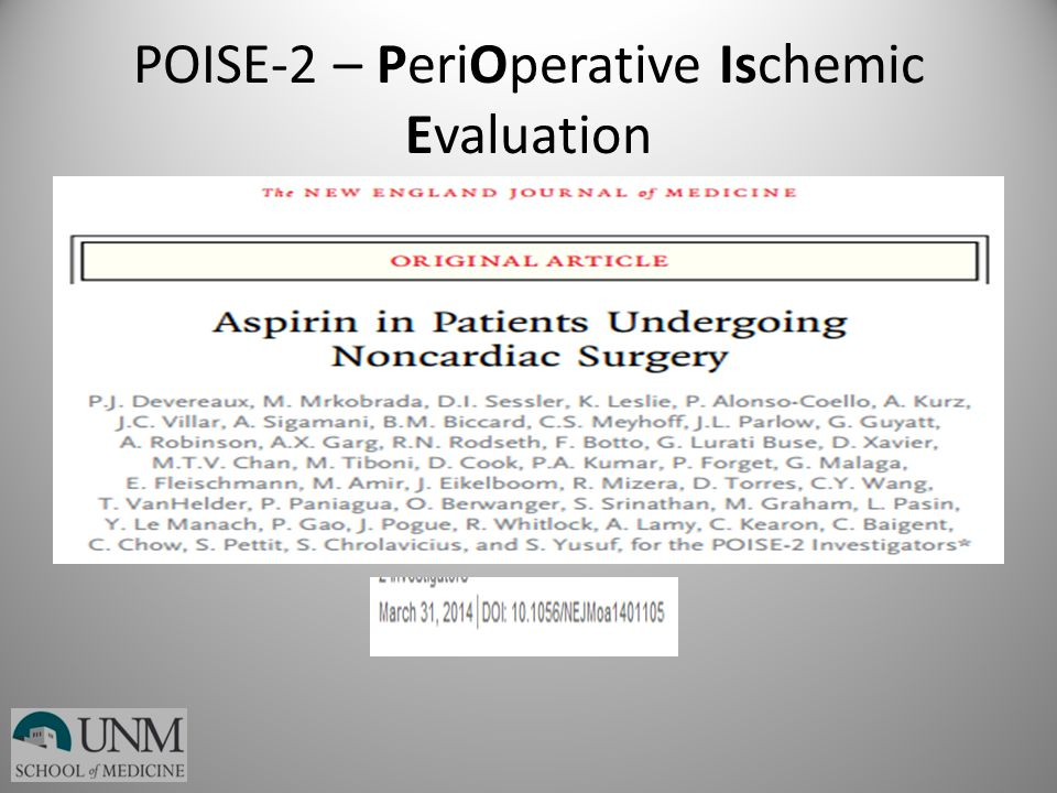 POISE-2 – PeriOperative Ischemic Evaluation