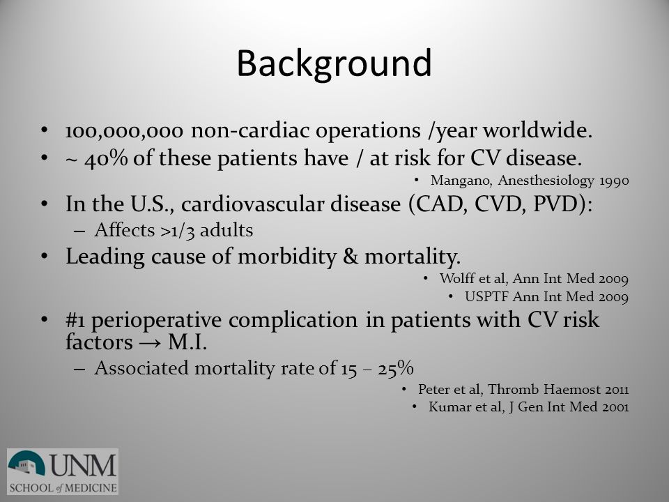 Background 100,000,000 non-cardiac operations /year worldwide.