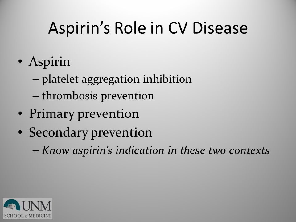 Aspirin's Role in CV Disease