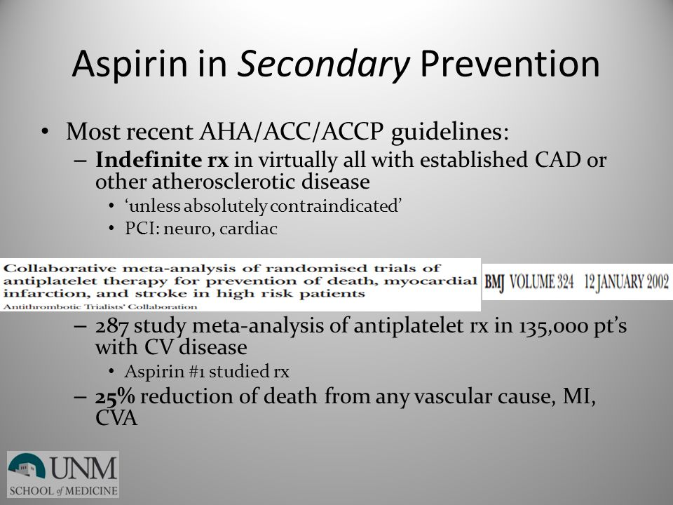 Aspirin in Secondary Prevention