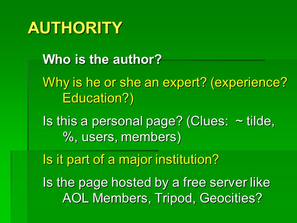 AUTHORITY Who is the author