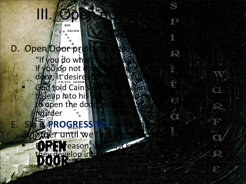 Open doors in spiritual warfare