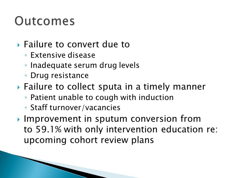 Outcomes Failure to convert due to