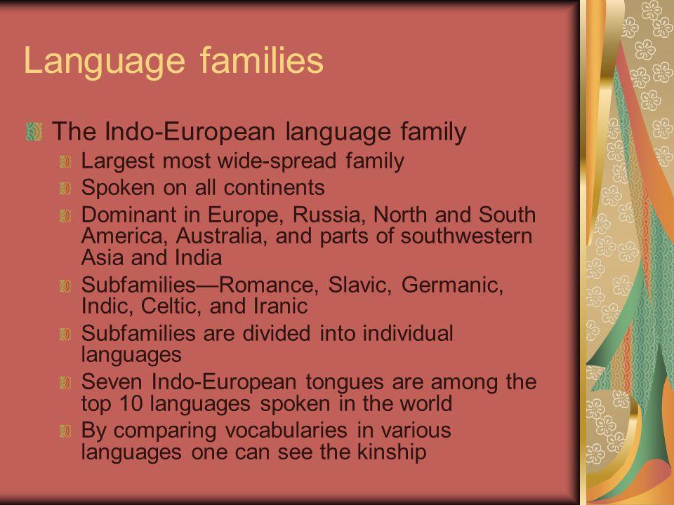 Language families The Indo-European language family