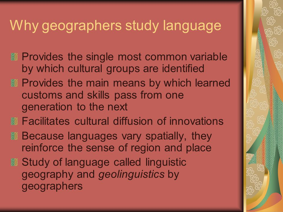 Why geographers study language