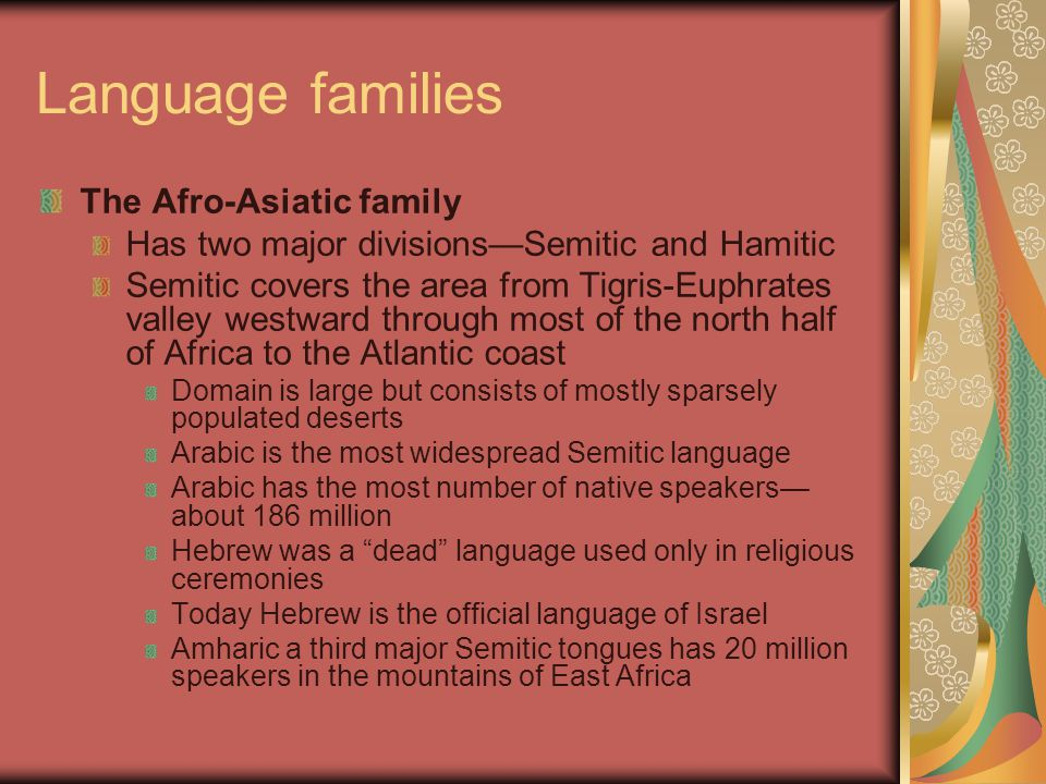 Language families The Afro-Asiatic family