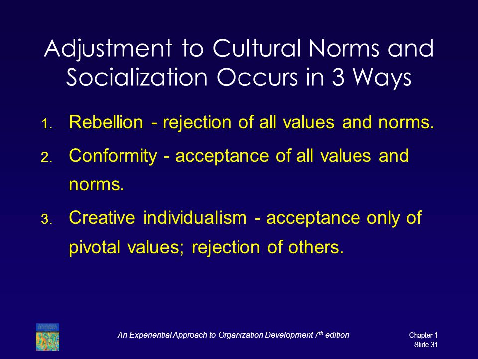 Adjustment to Cultural Norms and Socialization Occurs in 3 Ways
