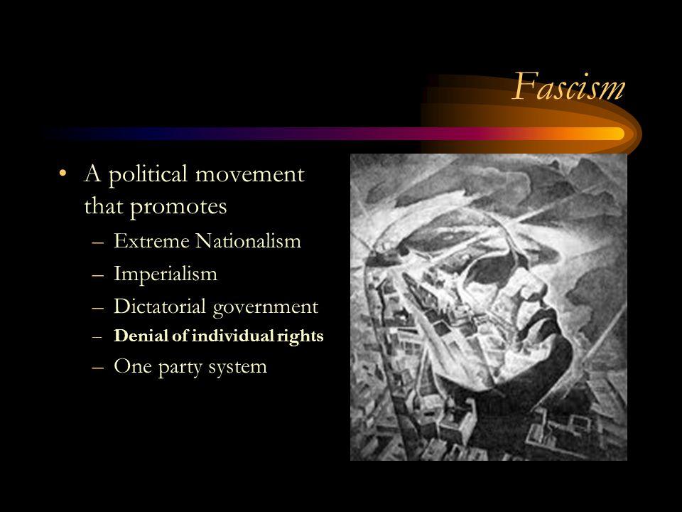 Fascism A political movement that promotes Extreme Nationalism