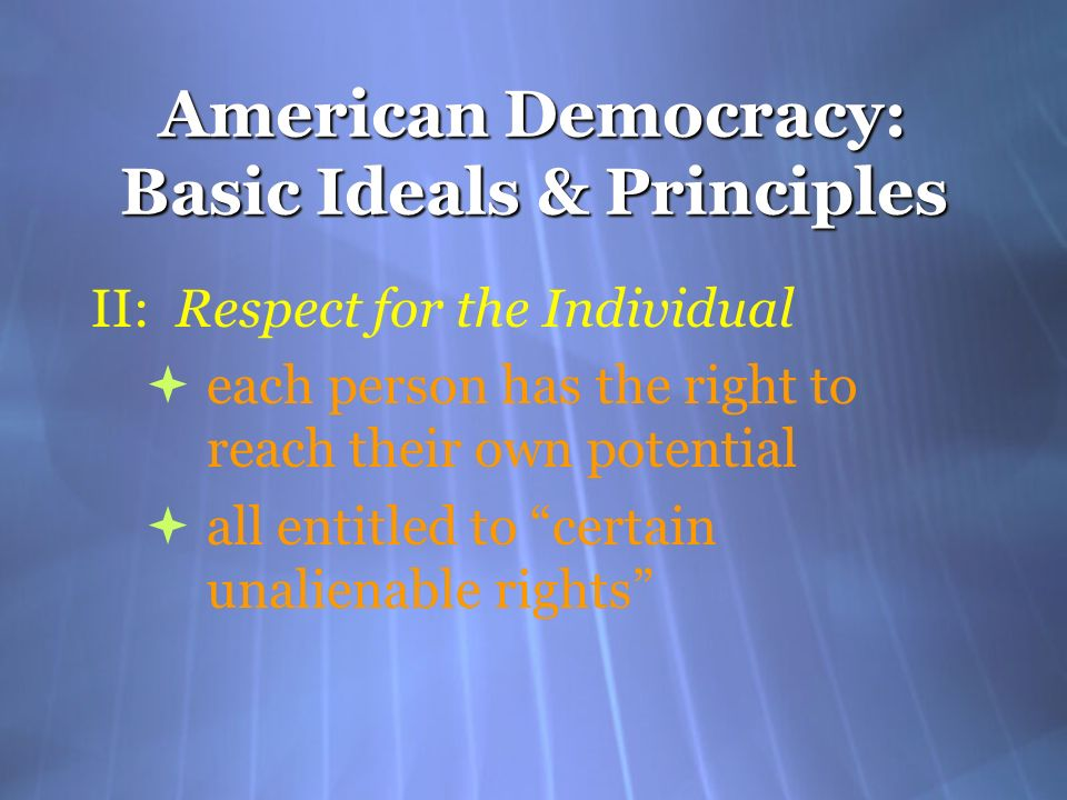 American Democracy: Basic Ideals & Principles