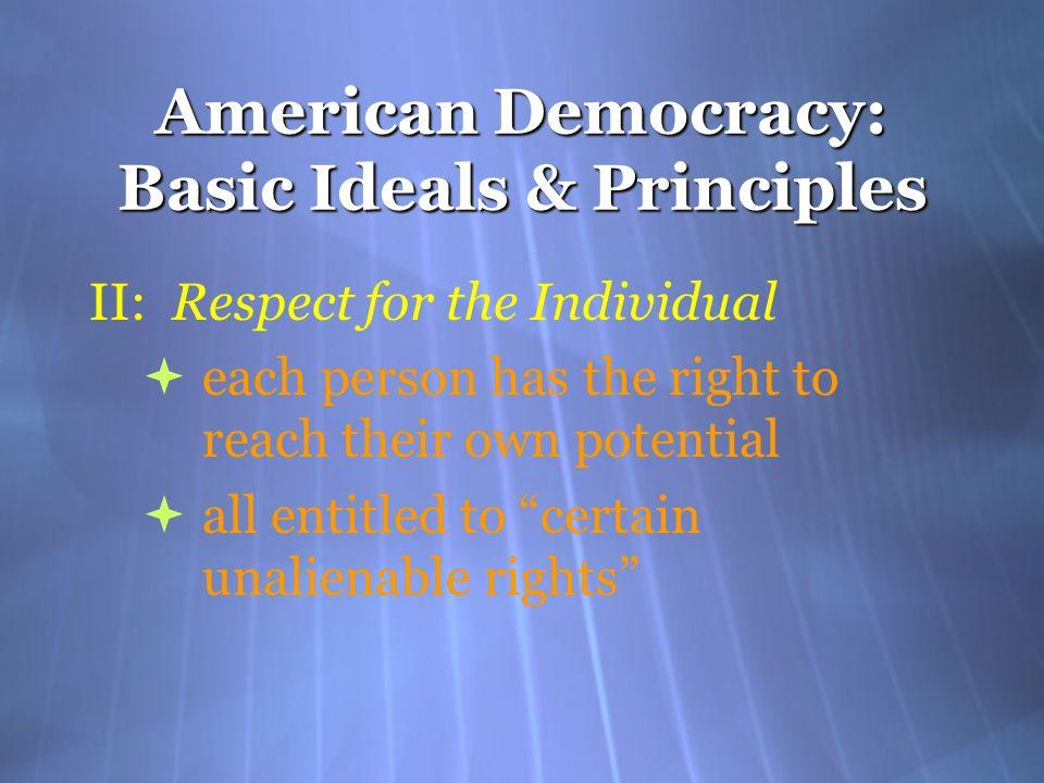 American Democracy: Basic Ideals & Principles