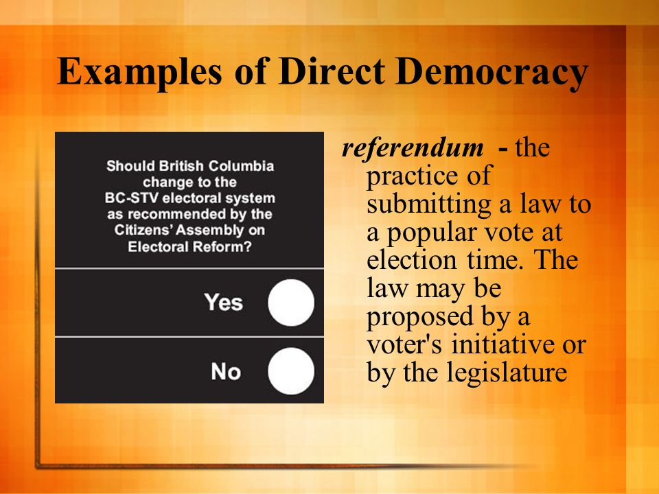 Examples of Direct Democracy