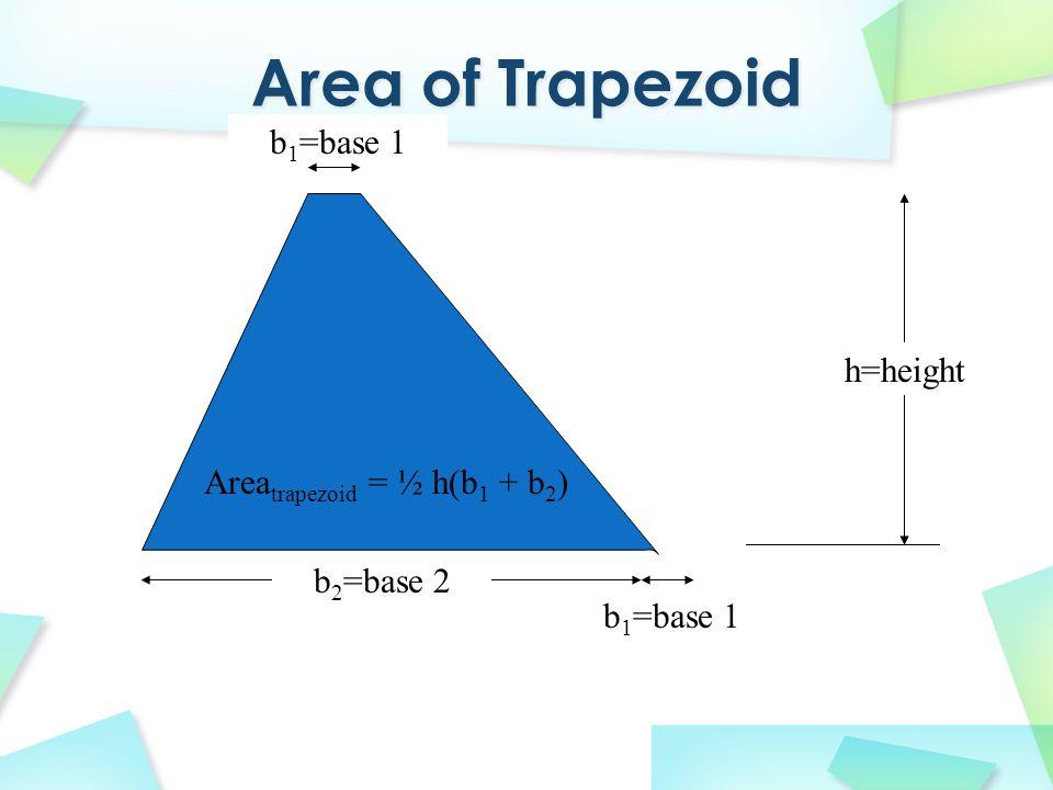 Areatrapezoid = ½ h(b1 + b2)