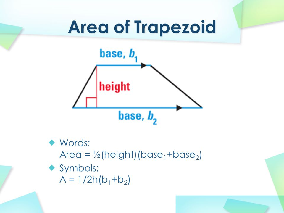 area of trapezoid The area of any trapezoid with base side lengths b1 and b2 and height h is given by the formula a = h(b1 + b2)/2 the base sides are the trapezoid's two parallel sides.